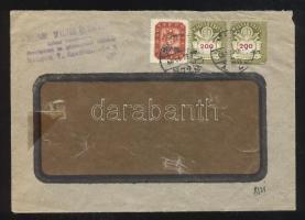 1946 (21. díjszabás) Helyi (túlbérmentesített) levél 250gr-ig Milpengős 20000 millióP + 2x 200 milliárdP bélyeggel / Local cover 2nd weight class