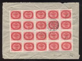 1946 (18. díjszabás) Távolsági levél 20x 20 millióP bérmentesítéssel, kisegítő bélyegzéssel
