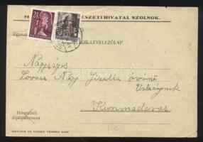 1946 (15. díjszabás) Távolsági levelezőlap Betűs III. Távolsági levél/18f + Ajánlás/24f bélyegekkel bérmentesítve
