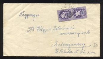 1946 (12. díjszabás) Távolsági levél 2x Lovasfutár 80 ezerP bérmentesítéssel, téves bélyegző beállítással (1 hónappal későbbre állítva)