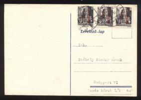 1946 (15. díjszabás) Távolsági levelezőlap 3x Betűs III. Távolsági levél/18f bérmentesítéssel