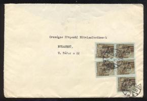 1946 (15. díjszabás) Helyi levél 5x Betűs III. Helyi levél/10f bérmentesítéssel