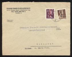 1946 (15. díjszabás) Távolsági levél 6 db Betűs III. bélyeggel bérmentesítve