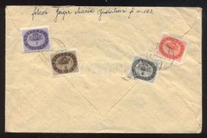 1946 (15. díjszabás) Távolsági levél Milliós 1, 2, 3 és 4 millióP bérmentesítéssel