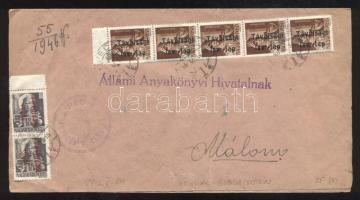 1946 (15. díjszabás) Távolsági levél (Értesítés az Állami Anyakönyvi Hivatalnak) 7 db Betűs III. bélyeggel bérmentesítve