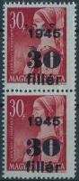 1945 Kisegítő 30f/30f pár, 1 bélyegen részleges kettős felülnyomás / Mi 787 pair, 1 stamp with partial double overprint