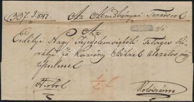 1847 Ex offo az abrudbányai tanácstól teljes tartalommal, a szakirodalomban ismeretlen negatív ZALATNA bélyegzéssel Kolozsvárra
