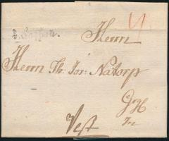 1786 Portós levél / cover with postage due v.Kaschau - Pest