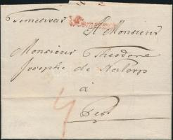 1788 Portós levél / cover with postage due, piros / red v Temeswar - Pest