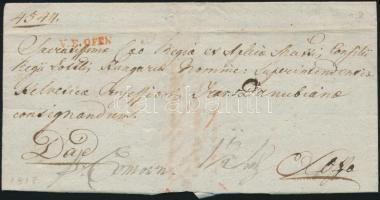 1818 Ex offo teljes tartalommal / with full content piros / red V.F.OFEN - Dád