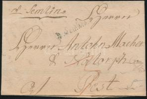 1789 Portós levél / Cover with postage due v. Semlin - Pest