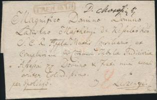 ca 1830 Portós levél / cover with postage due, piros / red TRENTSIN - Lesznye