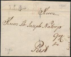 1785 Portós levél / cover with postage due v. Kaschau. - Pest