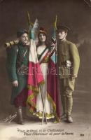 WWI military propaganda, Allied forces, Triple Entente; French, British soldiers