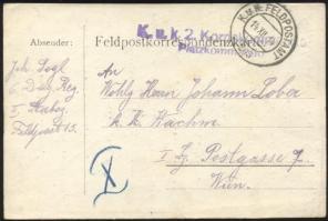 1914 Tábori lap KuK.2.Korpskommando Platzkommando + FP 203