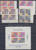 1965 100 éves a bélyeg sor Mi 1186-1189 ívsarki négyestömbökben + blokk Mi 13