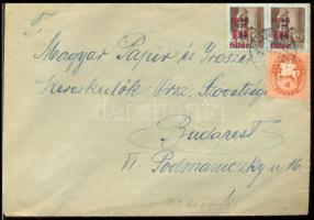 1946 (8. díjszabás) Helyi levél 2x Betűs Tl.2/10f + Lovasfutár 4 ezerP bérmentesítéssel