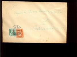 1946 (8. díjszabás) Helyi levél Betűs Ajl.2./12f + Lovasfutár 4ezerP bérmentesítéssel