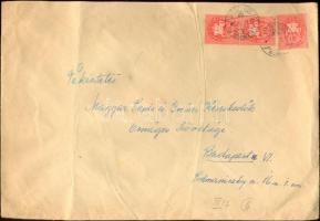1946 (8. díjszabás) Távolsági levél 250gr-ig 3x Lovasfutár 10ezerP bérmentesítéssel