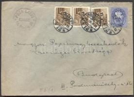 1946 (8. díjszabás) Helyi céges levél 250gr-ig 3x Betűs Tl.I./10f + Lovasfutár 15ezerP bérmentesítéssel