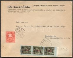 1946 (8. díjszabás) Helyi céges levél 3x Betűs Hl.I./8P + Lovasfutár 10ezerP bérmentesítéssel