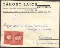 1946 (8. díjszabás) Távolsági céges levél 2x Köztársaság 3ezerP + 5x Újjáépítés 3000P
