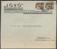 1945 (2. díjszabás) Helyi levél 2x Kisegítő 1P/80f bérmentesítéssel