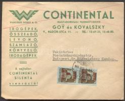 1945 (2. díjszabás) Helyi céges levél 2x Kisegítő 1P/80f bérmentesítéssel