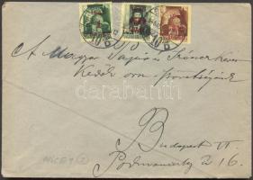1945 (2. díjszabás) Helyi levél 3 klf Kisegítő bélyeggel bérmentesítve