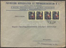 1945 (2. díjszabás) Helyi céges levél 4x Kisegítő 50f/50f bérmentesítéssel