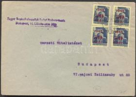 1945 (2. díjszabás) Helyi levél 4x Kisegítő 50f/50f bérmentesítéssel