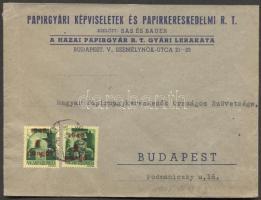 1945 (2. díjszabás) Helyi céges levél 2x Kisegítő 1P/1P bérmentesítéssel
