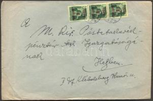 1945 (2. díjszabás) Helyi levél 250gr-ig 3x Kisegítő 1P/1P bérmentesítéssel