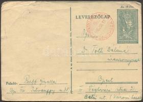 1945 (2. díjszabás) Távolsági levelezőlap készpénz bérmentesítéssel