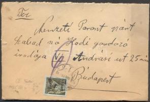 1945 (2. díjszabás) Távolsági ajánlott levél Kisegítő 8P/20f bérmentesítéssel