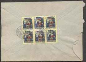1945 (2. díjszabás) Távolsági levél 6x Kisegítő 50f/50f bérmentesítéssel