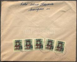 1945 (2. díjszabás) Távolsági levél 5x Kisegítő 60f/8f bérmentesítéssel