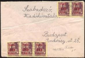 1945 (2. díjszabás) Távolsági levél 5x Kisegítő 20f/18f + 5x 40f/24f bérmentesítéssel