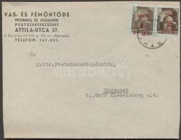 1945 (2. díjszabás) Távolsági levél Kisegítő 2P/2P + 1P/80f bélyegekkel bérmentesítve