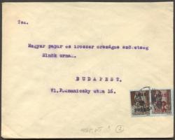 1945 (2. díjszabás) Helyi levél Kisegítő 2P/4 + 10f/4f bélyegekkel kicsit túlbérmentesítve