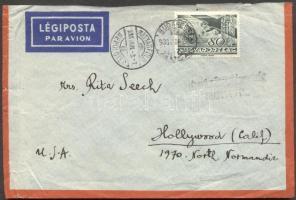 1936 Légi levél Hollywoodba Repülő 80f bérmentesítéssel