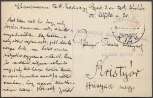 1916 Képeslap a budapesti 3. sz. tartalékkórházból