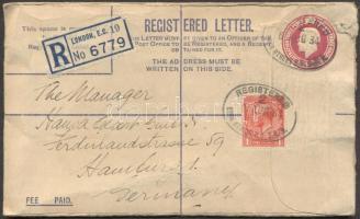 1924 Ajánlott díjjegyes boríték díjkiegészítéssel Németországba