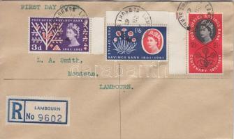 1961 100.éves a Posta takarékpénztár Mi 343-345 ajánlott FDC