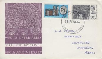 1966 900 éves a Westminster-apátság Mi 416-417 futott FDC-n