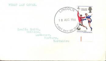 1966 Football Világbajnokság, Anglia felülnyomással ENGLAND WINNERS ívszéli Mi 429 FDC-n