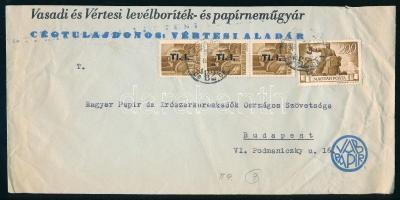 1946 (7. díjszabás) Helyi levél 3x Betűs Tl.I./10f + Újjáépítés 200P bérmentesítéssel