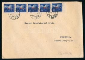 1946 (7. díjszabás) Helyi levél 5x Betűs Hl.I./50f bélyeggel bérmentesítve