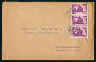 1946 (7. díjszabás) Távolsági levél 3x Újjáépítés 1000P bélyeggel bérmentesítve
