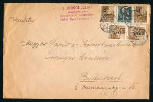 1946 (7. díjszabás) Távolsági levél Betűs 4x Tl.I./10f + Any.2./1f alulbérmentesítve